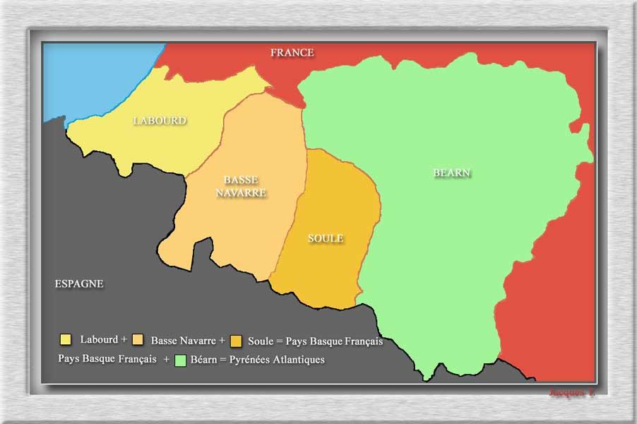 Carnets de voyages carte des Pyrénées Atlantiques